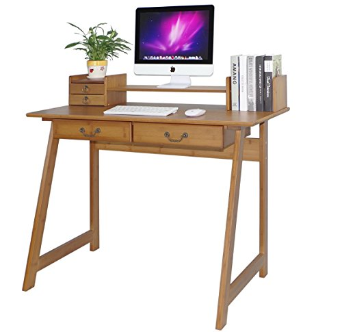Bamboo Antique Computer Desk Writing Study Table with Bookshelf and Drawers for Home Office Living Room ()