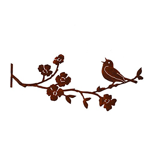 Elegant Garden Design Singing Warbler on Dogwood Branch, Steel Silhouette with Rusty Patina