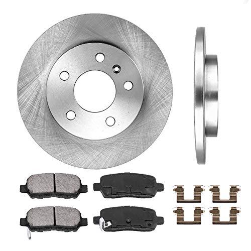 [ V6 ] REAR 270 mm Premium OE 5 Lug [2] Brake Disc Rotors + [4] Ceramic Brake Pads + Clips CRK12988