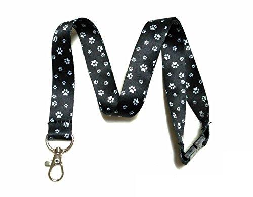 (Break Away Black & White Print Lanyard Key Chain Id Badge Holder (Paw)
