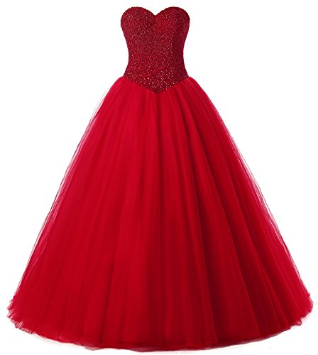 Beautyprom Women's Ball Gown Bridal Wedding Dresses (US2, Red)