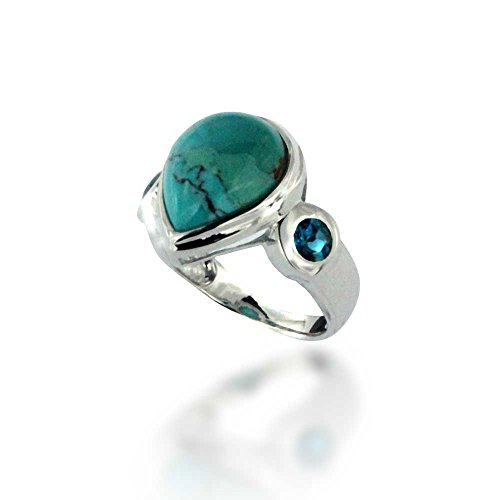 Rhodium Plated 925 Sterling Silver Compressed Turquoise and London Blue Topaz Gemstone Ring, Size 6