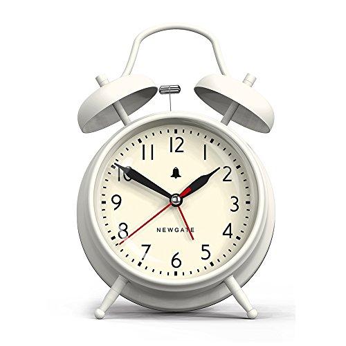 Newgate New Covent Garden Alarm Clock, Linen White Bell Brass Finish Alarm Clock