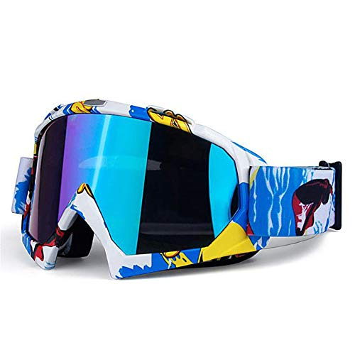 LXT PANDA Adult Motocross Motorcycle Goggles ATV Racing Goggles Off-Road Vehicle Mx Goggles Glasses and Ski Sleds,E