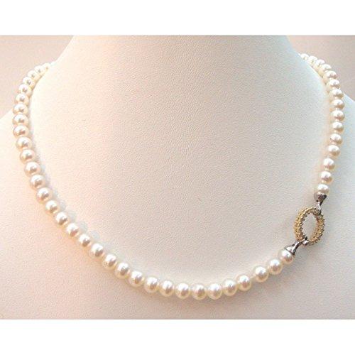 Orelù-Collier Femme-Perles d'eau douce 6-6,5 Orelù Or Jaune et Blanc 18 carats (750)