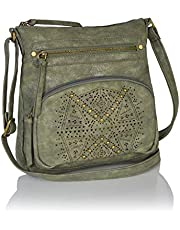 Bohemian Laser Cut Design Faux Suede Perforated Crossbody Bag with Large Tassel