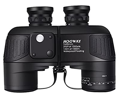 Hooway 7x50 Waterproof Fogproof Marine Binoculars w/Internal Rangefinder & Compass for Navigation,Boating,Fishing,Water Sports,Hunting and More