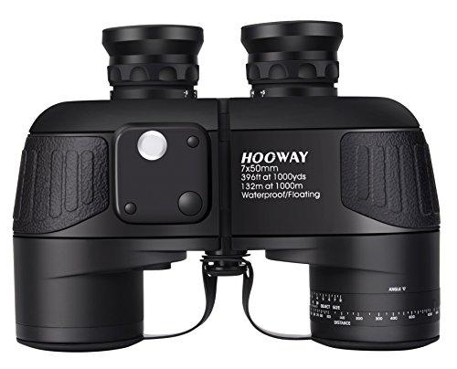 Hooway 7×50 Waterproof Fogproof Military Marine Binoculars w/ Internal Rangefinder & Compass for Navigation,Boating,Fishing,Water Sports,Hunting and More