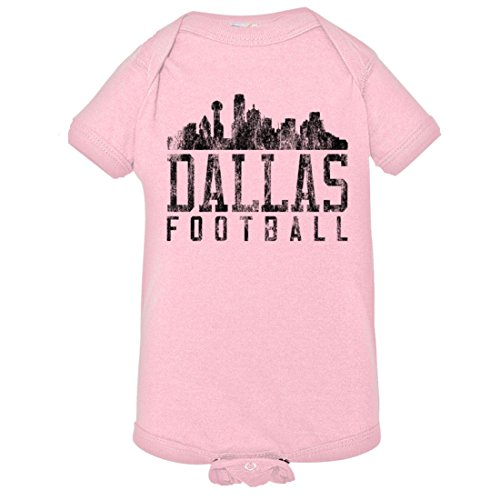 Baby Creeper Dallas Football Distressed Cowboys Skyline HQ 1-Piece Jumper - Pink - Men Onesie Cowboys