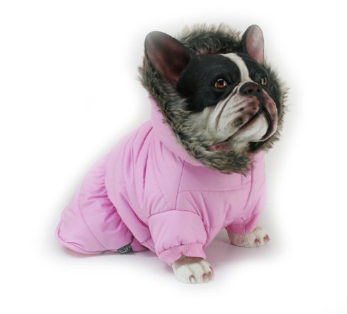 Dogit Dog Coat with Faux Fur Trimmed Hoodie, Medium, Rose, My Pet Supplies