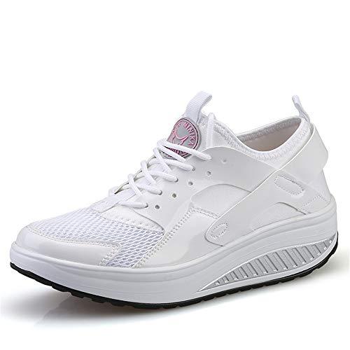 FangYOU1314 Casual poca Profundidad cómoda Correa Blanca Zapatos Pendiente Femenina con Calzado Deportivo (Color : Blanco, tamaño : 40 EU) Blanco