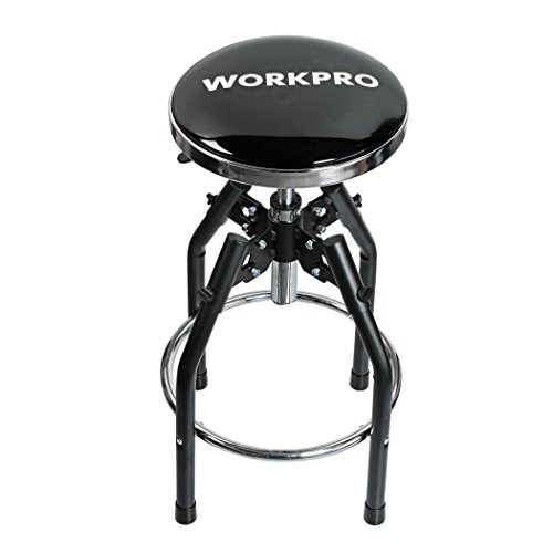 WORKPRO Heavy Duty Adjustable Hydraulic Shop Stool, Black