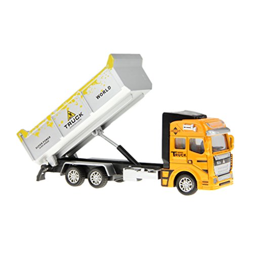 Kids Car Toy 1:48 Alloy Diecast Tipper Tip Lorry Dump Truck Commercial Trailers Carrying Containers Dumpsters and Transporting Construction Model Vehicle Cars Toys Gift for Child Children Boys
