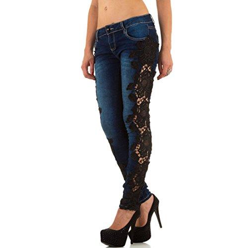 Con Blanco Ricamo Jeans Store Stretch Laterale Donna Oxxv40q