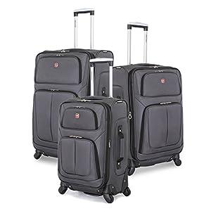 SwissGear 3 PC Spinner Suitcase Set (Dark Grey)