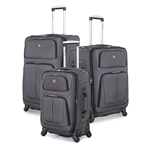 SwissGear 3 PC Spinner Suitcase Set (Dark Grey) by SwissGear