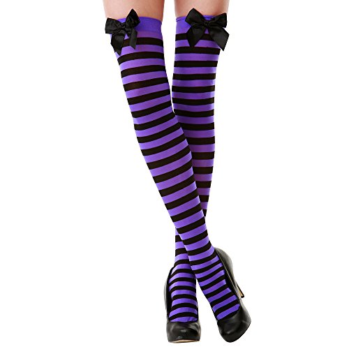 Purple & Black Stripe Thigh-High Halloween Adult Women's Cosplay Costume Tights -