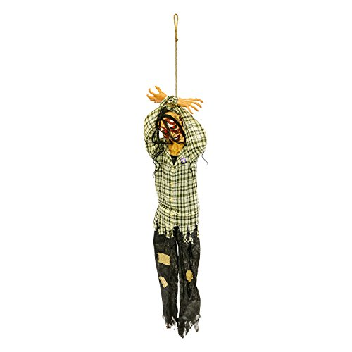 Halloween Haunters Hanging 6 Foot Scary Prisoner Zombie Man with Screaming Sounds and Light-Up Eyes Prop Decoration - Life-Size Hands Tied Tortured Soul - Haunted House Graveyard Entryway Display -