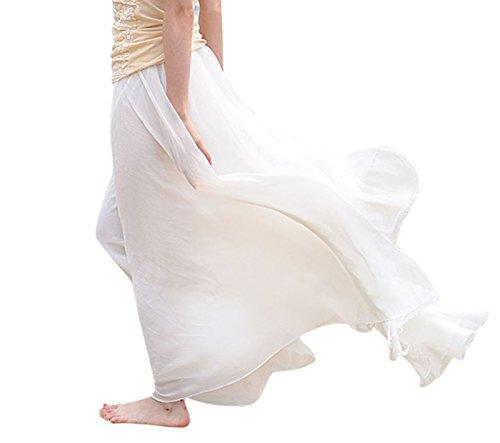 Aivtalk Women Beach Chiffon Skirt Double layer Long Maxi Flowing Gypsy Skirts White One Size ()