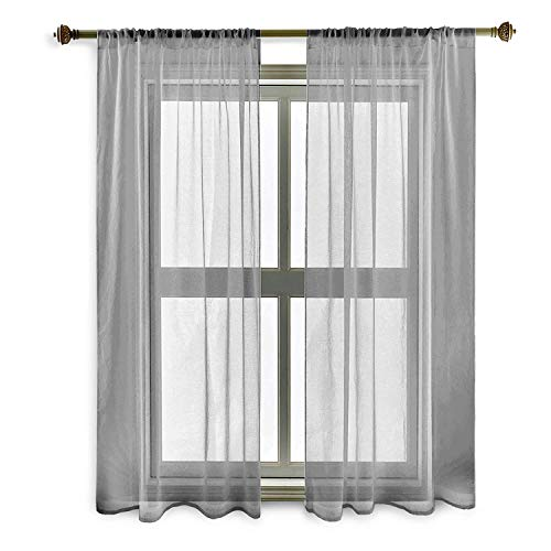 Guken Linen Gray Luxurious Wide Solid Durable Material Curtains 2 Grommet Semi Sheer Curtains for Bedroom Living Room Set of 2 Curtain Panels Beautigul 54 x 63inch Gray