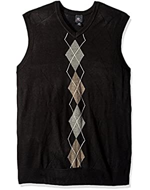 Men's Big and Tall Soft Acrylic Center Front Aryle and Texture Rakers-Vest