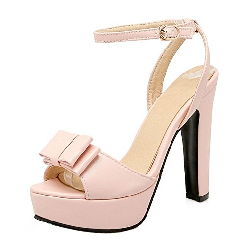 TAOFFEN Mujer Zapatos Moda Tacon Ancho Tacon Alto Plataforma Sandalias De Bowknot De Al Tobillo Rosado
