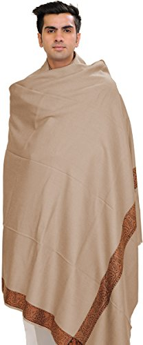 Exotic India Plain Men's Shawl with Brown Woven Border - Color Frappe (India In Scarf Made)
