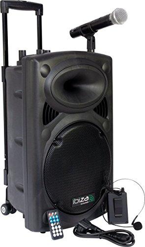 Ibiza Sound PORT12VHF- BT Sistema de sonido portátil y autónomo de 12″/30 cm, USB, Bluetooth, 700 W, Negro