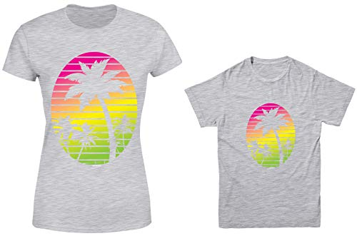 HAASE UNLIMITED Neon Palm Tree 2-Pack Youth & Ladies T-Shirt (Lt. Gray/Lt. Gray, Ladies Small/Youth X-Small)