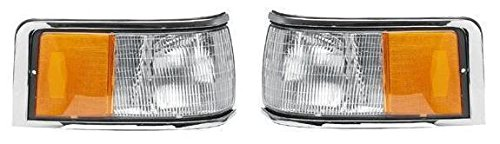 1990 - 1994 Lincoln Towncar Cornerlamp Cornerlight (No Emblem / Logo) Pair Set Both Driver and Passenger NEW FOVY15A201B FOVY15A201A FO2550131 FO2551131 ()