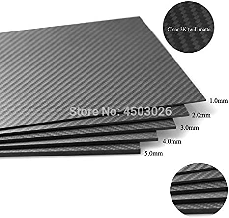 Color: 200x100x3.0MM 1PC Vehicles-OCS Real Carbon Fiber prepreg Sheets 3mm 200mm X 100mm Thickness on Sale Hardness Material for RC Matte Finish Twill Weave