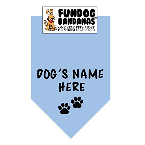 Personalized Dog Bandana (One Size Fits Most for Medium to Large Dogs, Light Blue) -