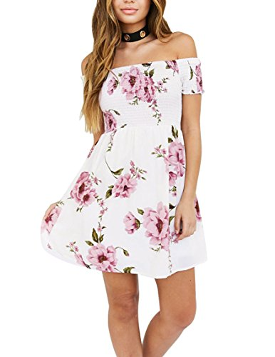 [EBUYTIDE Women's Off Shoulder Short Sleeve Print Floral Summer Short Cocktail Swing Dress Medium] (Floral Short Dress Shorts)
