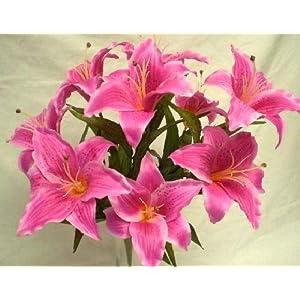 """Beauty Tiger Lily Artificial Silk Flowers 18"""" Bouquet 9-687 BT 87"""