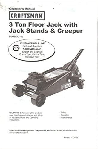 Sears Craftsman 3 Ton Floor Jack Owner S Operator S Manual