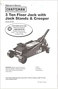 Sears craftsman 3 ton floor jack owner 39 s operator 39 s manual for 50188 craftsman