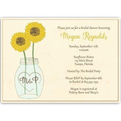 Amazoncom Sunflower Bridal Shower Invitations Mason Jar