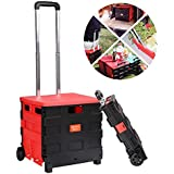 Mewalker Folding Two-Wheeled Trolley Hand Cart, Retractable Handle Luggage Trolley Cart with Lids for Shopping Travel Casual Handcart 25KG/ 55lbs (US Stock)