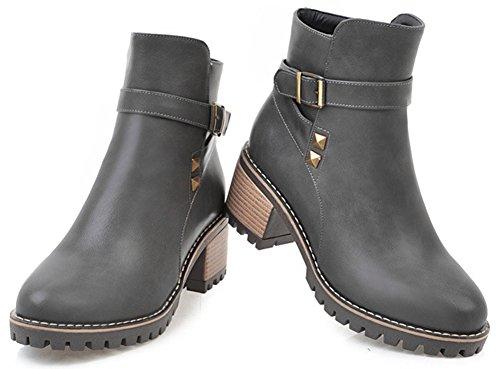 Idifu Kvinna Bekväma Spänne Mitten Chunky Klack Dragkedja Boots Med Nitar Grå