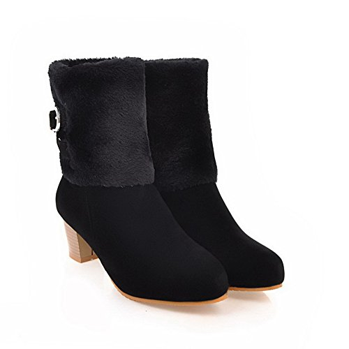 Boots Fringed Urethane Black ABL10671 Metal Mid Calf Womens BalaMasa Buckles 7qYw055