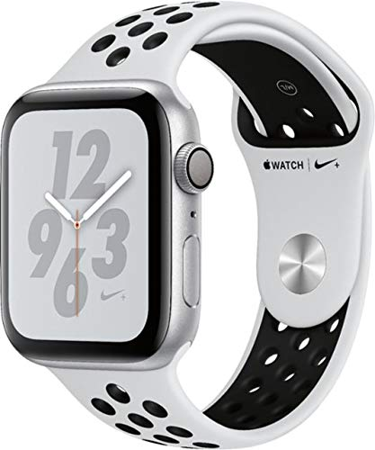 Apple Watch Series 4 (GPS only) Aluminum Case Compatible with iPhone 5s and Above (Silver Aluminum Case with Pure Platinum/Black Nike+ Sport Band, ...