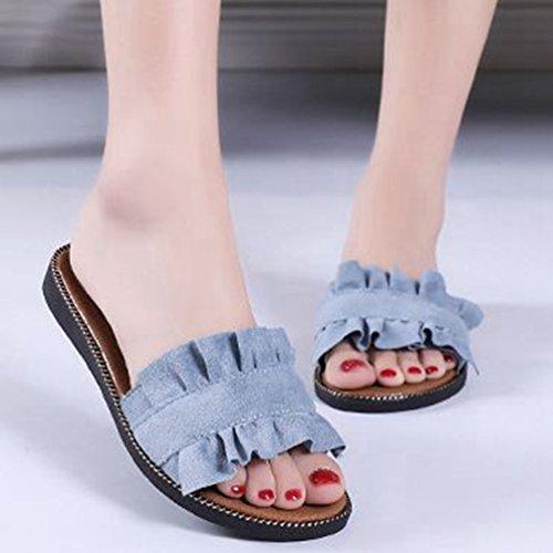 Confort Piscine Pantoufles Noir Plage Femmes Dérapant Bleu Plat Anti Denim Dentelle Bleu Été Doux Sandales pour Diapositives qHxXwPOZ