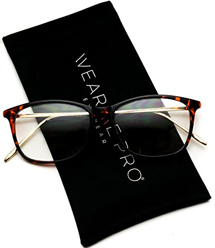 - WearMe Pro - Rectangular Elegant Metal Gold Temple Square Clear Glasses