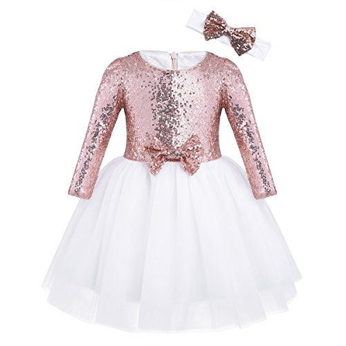 iEFiEL Baby Girls Sequins Mesh Flower Princess Pageant Wedding Birthday Party Tutu Dress Rose Gold Long Sleeves 2-3