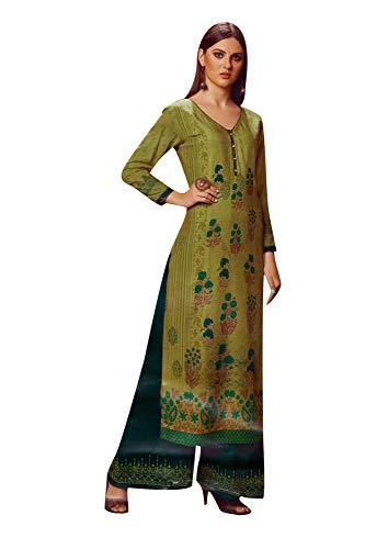 ladyline Kurtis for Women with Palazzo Pants Set Rayon Kurta Indian Tunic Top Dress (Size_42/ Green)
