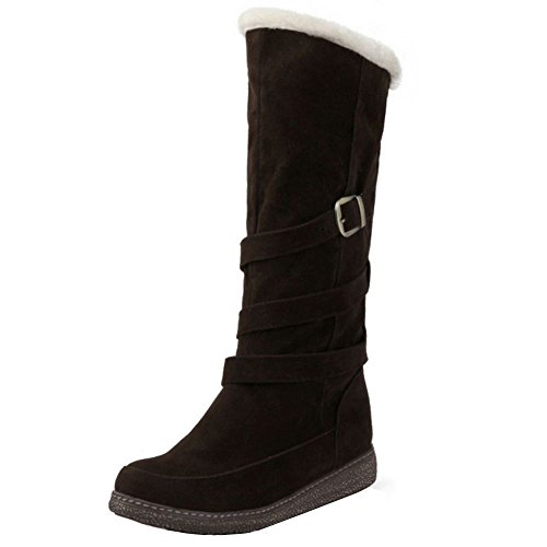 Women's Warm COOLCEPT Calf Flat Boots Winter Mid Brown wZ66xqFO