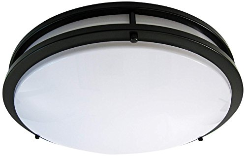 LB72125 LED Flush Mount Ceiling Light, 16-Inch, Oil Rubbed Bronze, 23W (180W equivalent) 1610 Lumens 4000K Cool White, ETL & DLC Listed, ENERGY STAR, Dimmable (Bronze Round Pendant Three Light)