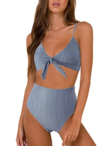 Blooming Jelly Womens High Waisted Bikini Set Tie Knot High Rise Two Piece Swimsuits Bathing Suits (x-Small, Black White Striped)