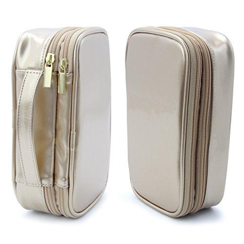 MONSTINA Cosmetics Bag,Double Layer Makeup Bag,Beauty Makeup Brush Bags Travel Multi-functional Kit Organizer For Women(Champagne Gold) by MONSTINA (Image #4)