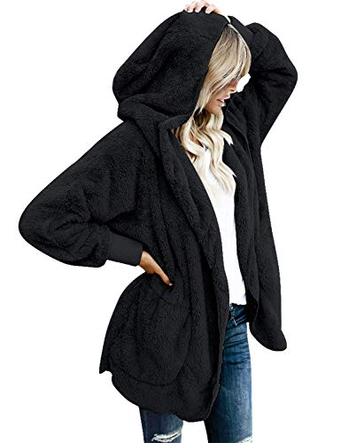 Vetinee Women's Casual Draped Open Front Hooded Cardigan Pockets Oversized Coat Black Size Small (fits US 4-US 6)